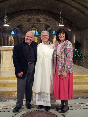 (Left to Right) Deacon Keith Fournier, then Deacon Randy Sly and his wife, Sandy Sly. Fr Sly went on to be ordained as one of the first priests of the Ordinariate of the Chair of St Peter.