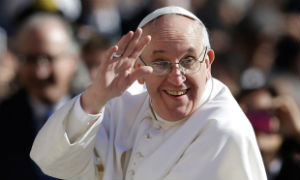 The Pope lost his skullcap to a gust of wind during an appearance at Saint Peter's square.