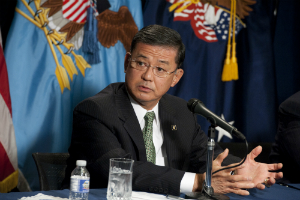 Eric Shinseki takes questions in this file photo.