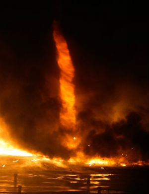 Due to the drought and wind, California is also having to deal with firenados. Whirling vortexes of flaming debris.
