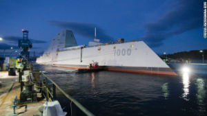 The new destroyer for the navy has a minimum crew of 130, though it is larger than that of a regular destroyer.