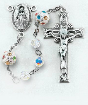 The Aurora Swarovski Crystal Sterling Rosary is a favorite for those who enjoy exquisite and colorful beads in their rosaries.