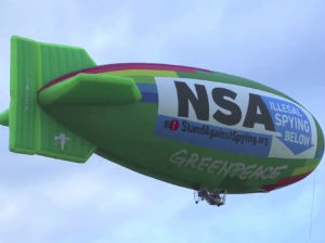 The blimp used by a collection of American organizations to shame the NSA.