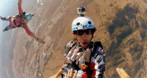 GoPro makes a clip-on camera that has become incredibly popular with people who wish to film extreme sports.