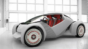 The Strati, a car which will be printed from a 3D printer, was designed by Italian Michele Anoe and will debut in September at the International Manufacturing and Technology Show in Chicago.