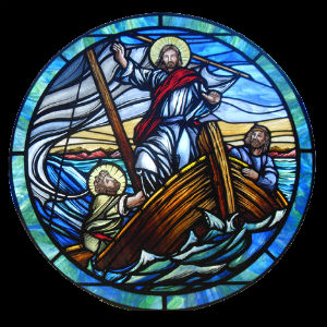 Jesus teaches from the boat of Saint Peter, the Catholic Church, and just as fish are drawn out of the water, are cleaned and prepared, die, and are eaten, so are we drawn out of the waters of baptism, cleansed, prepared, die to sin, and assimilated into the Body of Christ.