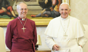 Pope Francis and Archbishop Welby.