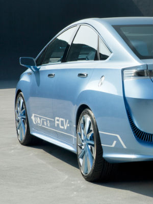 Called FCV, Toyota displayed a concept version of its fuel-cell vehicle at the Tokyo Motor Show last year.