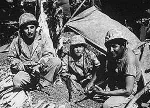 PFC Chester Nez (middle) on Saipan in June, 1944.