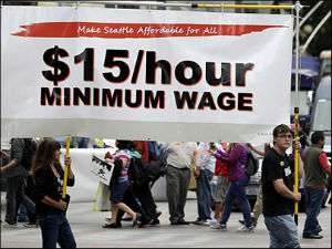 Seattle residents gathered to support the measure to increase the city's minimum wage to $15 an hour.