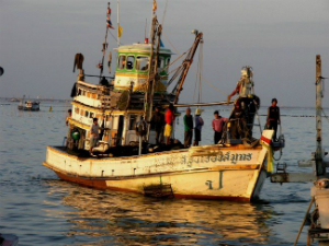 Forced to work on old fishing boats, slaves work 20-hour days, often with drugs to keep them going. They are not paid, having been bought and sold into the industry.