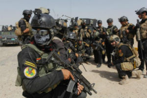 Members of Iraq's military special forces outside Tikrit.