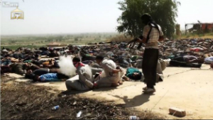 This video capture shows the moment an ISIS terrorist finishes the last man our of what appears to be hundreds systematically killed near Tikrit. Christians are next and may already be included in this number.