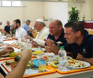The Pope spent about an hour dining at a table with around 10 other people.