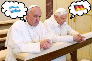 Pope Emeritus Benedict and Pope Francis are praying. Who are you praying for? Team Benedict or Team Francis?