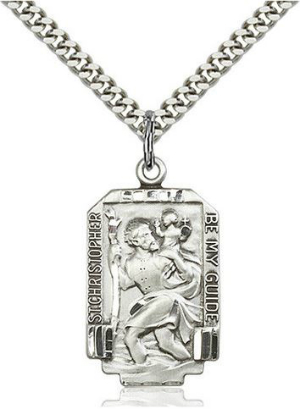 Quality, sparkling pendants of sterling silver, like this popular St. Christopher pendant, are available now from Catholic Shopping .com.