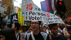 Pro-democracy demonstrators in Hong Kong, demanding the right to elect the leader of the semi-autonomous region.
