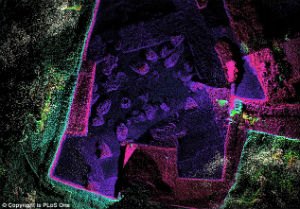 Radar imaging of the ancient cellar where more than 40 wine vessels were found, dating back more than 3,000 years.