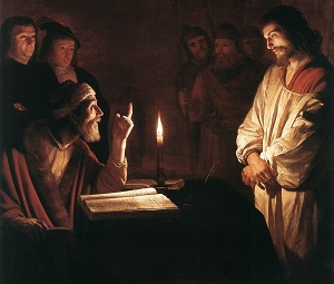 Christ Before the High Priest, by Gerrit van Honthorst (1590-1656) hangs in the London Museum of Art.  The painting depicts Jesus, standing before the High priest - with His holy hands bound. The Priest, who at the time I thought was a Pharisee, is looking up with an arrogant demeanor and a pointed finger.