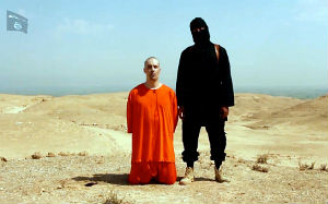 American journalist James Foley scene in a video by the Islamic State, moments before he was beheaded.