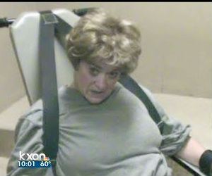 A video taken inside the jail after her arrest shows an aggressive, uncooperative Travis County District Attorney Rosemary Lehmberg under restraint.