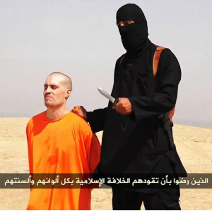 Muslim terrorists prefer beheading as the latest way to grab headlines. Here, a terrorist prepared to saw off the head of American journalist, James Foley.