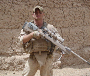 Corporal Rob Richards in Afghanistan. The Marine sniper was filmed in a controversial video urinating on dead Taliban terrorists.