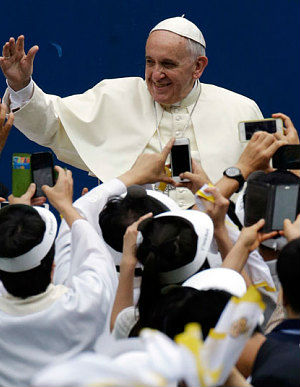 Pope Francis told 200 South Korean government officials that the two Koreas, halved between North and South since the end of the Korean War in 1953, 'has long suffered because of a lack of peace.'