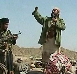 A screenshot from an AQAP propaganda video apparently shows the Yemen-based terrorist group's leader, Nasir al-Wuhayshi, addressing fighters.