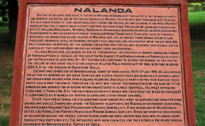 A history of Nalanda University set in a plaque.