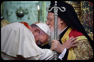 I pray that this prophetic action of Pope Francis - humbly seeking the blessing of Patriarch Bartholomew - hastens the healing of the divisions which separate the Church of Jesus Christ. I believe it shook the gates of hell. May it now release the power of the Holy Spirit and unleash a new missionary age of the Church.