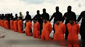 The Christian Martyrs about to be executed by evil Islamist terrorists because of their profession of faith in Jesus Christ.