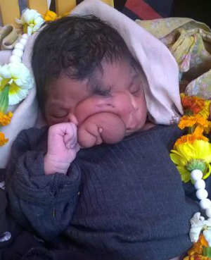 Newborn baby girl worshipped in India for unbelievable reason