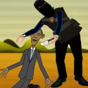'Mom! Dad! Jihadi John is going to slaughter me!' cartoon Obama cries before being beheaded in video