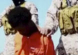 Image of The video depicts two groups of men, one in orange jumpsuits and the other in black, being killed at different locations in Libya.