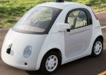Image of Google's self-driving cars, a squat two-seater is intended to shepherd fleets of vehicles that can drive with no need for human intervention.