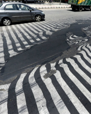 India's blistering heat continues: Roadways are MELTING under the sun