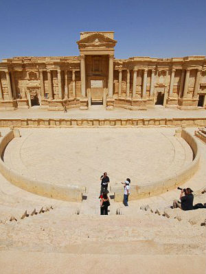 Ancient Roman amphitheatre in Palmyra scene of mass execution by ISIS