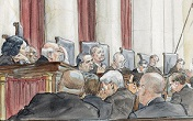 Image of An artist rendering of the Justices of the United States Supreme Court. Cameras are not allowed during arguments.
