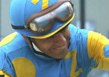 Image of Jockey Victor Espinoza rode American Pharaoh during this year's Triple Crown races.