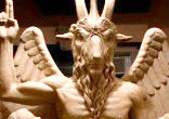 Image of Satanists secretly unveiled a nine-foot, one-ton statue of Baphomet, the horned devil god of satanic practice in an undisclosed location in Detroit this past weekend.