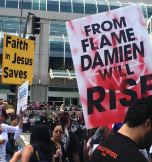 Comic-Con's Christian activists bombarded by Devil promoters involved with A&E's new series 'Damien'