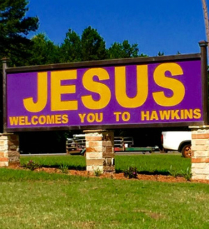 Small town Christians fight against atheists over right to keep Jesus welcome sign
