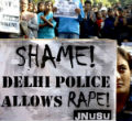 Image of An Indian woman is one of many protesters against rape.