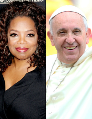 Rumors spread that Pope Francis plans to discuss church portrayal in media with Oprah and Matt Damon in a special meeting