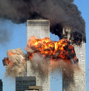 The Word Trade Towers under assault from terrorists on 9/11
