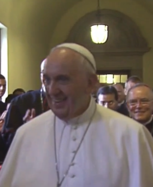 Pope Francis meets with bishops at St. Martin's Chapel