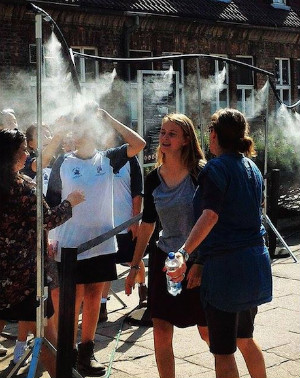 Shocking water misters at entrance of Auschwitz museum remind guests of gas chamber
