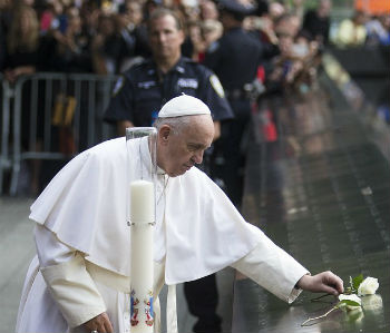Pope Francis leads interdenominational prayer at 9/11 memorial