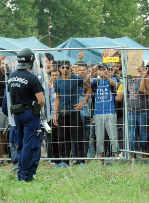 'Like animals in a pen': Hungarian officers 'inhumanely' toss food into crowds of hungry migrants